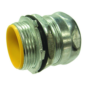 """Hubbell-Raco 2912RT EMT Compression Connector, 1/2"""", Insulated, Raintight, Steel"""