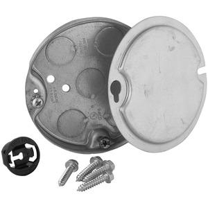 "Hubbell-Raco 295-1 4"" Ceiling Pan, 1/2"" Deep, 1/2"" KOs, Metallic"