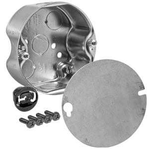 "Hubbell-Raco 296-1 4"" Octagon Ceiling Box, 1-1/2"" Deep, KOs, Metallic"