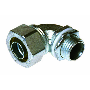 """Hubbell-Raco 3424 Liquidtight Connector, 90 Degree, 1"""", Malleable Iron"""