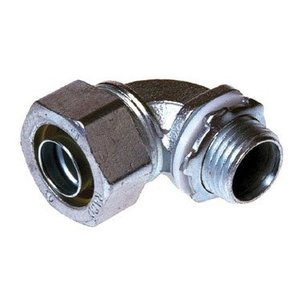"""Hubbell-Raco 3426 Liquidtight Connector, 90 Degree, 1-1/2"""", Malleable Iron"""