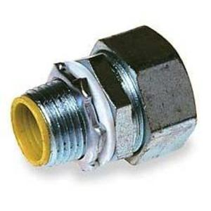 "Hubbell-Raco 3512RAC Liquidtight Connector, Straight, 1/2"", Steel, Insulated"
