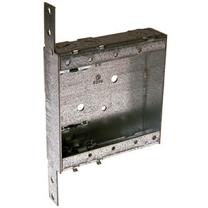 """Hubbell-Raco 418 Switch Box, Non-Gangable, Steel, 1"""" Deep, NM Clamps, D Bracket"""