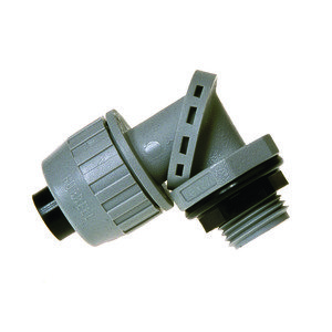 "Hubbell-Raco 4732 Liquidtight Connector, Adjustable to 90°, 1/2"", Non-Metallic"
