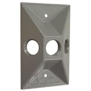 "Hubbell-Raco 5189-0 Weatherproof Cover, 1-Gang, (3) 1/2"" Outlet, Gray, Zinc Die Cast"