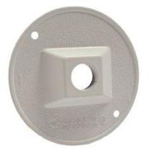 "Hubbell-Raco 5193-1 Weatherproof Outdoor Cover, Round, 4"", (1) 1/2"" Hubs, White"