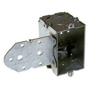 "Hubbell-Raco 522 Switch Box, Steel, 2 1/2"" Deep, 1/2"" KOs, LB Bracket"
