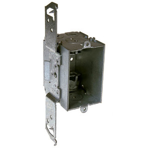 "Hubbell-Raco 524 Switch Box, Steel, 2"" Deep, NM Clamps, 1/2"" KOs, TS Bracket, Steel"
