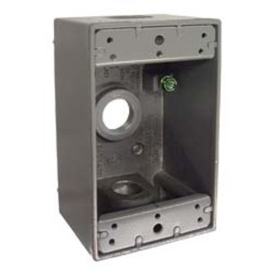"Hubbell-Raco 5320-0 Weatherproof Outlet Box, 1-Gang, 2"" Deep, (3) 1/2"" Hubs, Die Cast"