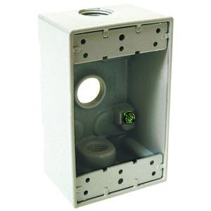 "Hubbell-Raco 5320-1 Weatherproof Outlet Box, 1-Gang, 2"" Deep, (3) 1/2"" Hubs, Aluminum"