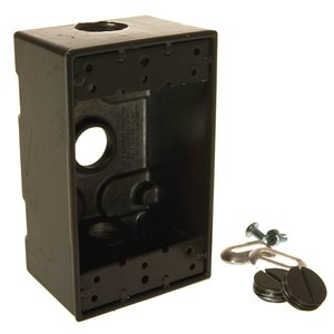 "Hubbell-Raco 5320-2 Weatherproof Outlet Box, 1-Gang, 2"" Deep, (3) 1/2"" Hubs"