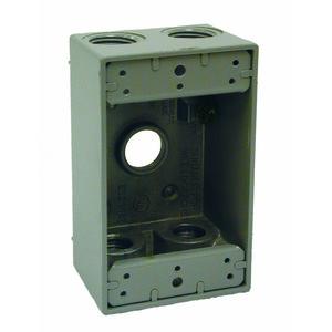"""Hubbell-Raco 5322-0 Weatherproof Outlet Box, 1-Gang, 2"""" Deep, (5) 1/2"""" Hubs, Die Cast"""
