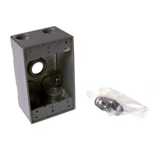 """Hubbell-Raco 5331-0 Weatherproof Outlet Box, 1-Gang, 2"""" Deep, (5) 3/4"""" Hubs, Die Cast"""