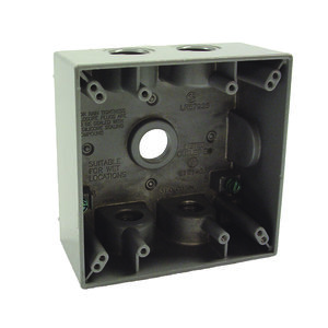 "Hubbell-Raco 5337-0 Weatherproof Outlet Box, 2-Gang, Depth: 2"", Die Cast"