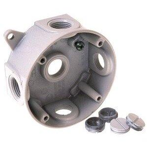 "Hubbell-Raco 5361-1 Weatherproof Round Box, Diameter: 4"", Depth: 1-1/2"", Aluminum"