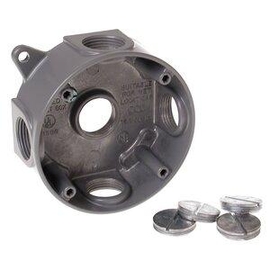 "Hubbell-Raco 5372-0 Weatherproof Round Box, Diameter: 4"", Depth: 1-1/2"", Aluminum"