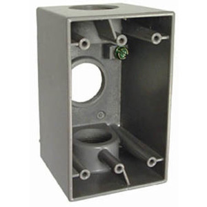"Hubbell-Raco 5387-0 Weatherproof Outlet Box, 1-Gang, 2-5/8"" Deep, (3) 1"" Hubs"