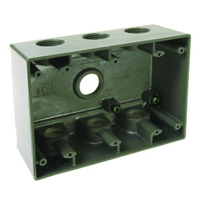 "Hubbell-Raco 5390-0 Weatherproof Box, 3-Gang, Depth: 2-5/8"", (7) 3/4"" Hubs, Die Cast"