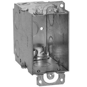 "Hubbell-Raco 600 Switch Box, Gangable, 3-1/2"" Deep, AC/MC/Flex Clamps, Ears"