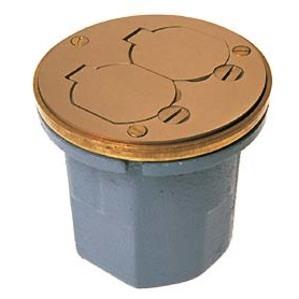 Hubbell-Raco 6224 Floor Box, Non-Adjustable, Type: Duplex, Flip-Lid, Brass Flange