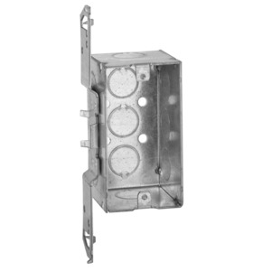"Hubbell-Raco 678 Handy Box, Depth: 2-1/8"", 1/2"" KOs, TS Bracket, Drawn, Metallic"