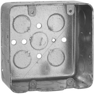 "Hubbell-Raco 680 4"" Square Box, Drawn, Metallic, 2-1/8"" Deep"