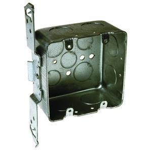 "Hubbell-Raco 685 4"" Square Box, Drawn, Metallic, 2-1/8"" Deep, TS Bracket"