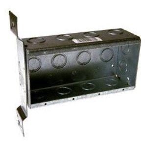 "Hubbell-Raco 687 Switch Box, Non-Gangable, 4 Gang, Steel, 2-1/2"" Deep, FM Bracket"