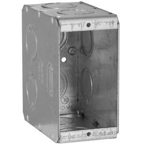 "Hubbell-Raco 695 Masonry Box, 1-Gang, 3-1/2"" Deep, 1/2 "" & 3/4"" KOs, Metallic"