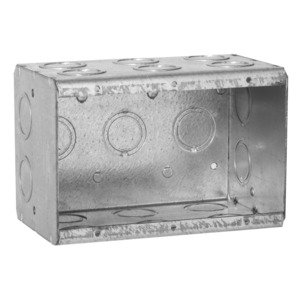 "Hubbell-Raco 697 Masonry Box, 3-Gang, 3-1/2"" Deep, 1/2 "" & 3/4"" KOs, Metallic"