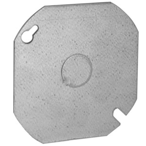 "Hubbell-Raco 724 4"" Octagon/Round Box Cover, (1) 1/2"" Knockout, Drawn, Metallic"