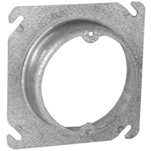 "Hubbell-Raco 757 4"" Square Fixture Cover, Mud Ring, 1"" Raised, Drawn, Metallic"