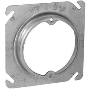 "Hubbell-Raco 759 4"" Square Fixture Cover, Mud Ring, 3/4"" Raised, Drawn, Metallic"