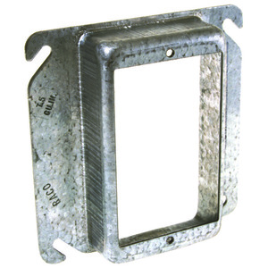 """Hubbell-Raco 773 4"""" Square Cover, 1-Device, Mud Ring, 3/4"""" Raised, Drawn, Metallic"""
