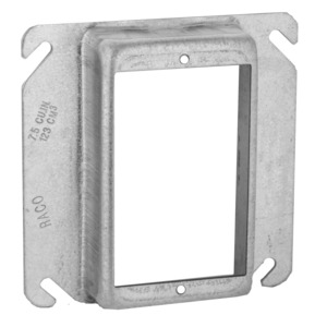 """Hubbell-Raco 774 4"""" Square Cover, 1-Device, Mud Ring, 1"""" Raised, Drawn, Metallic"""