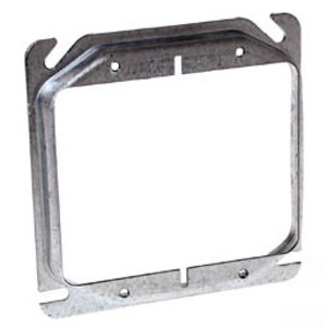 """Hubbell-Raco 778 4"""" Square Cover, 2-Device, Mud Ring, 1/2"""" Raised, Drawn, Metallic"""