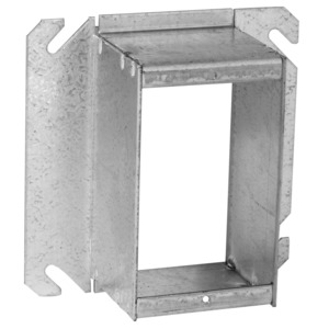 """Hubbell-Raco 785 4"""" Square Cover, 1-Device, Mud Ring, 1-1/2"""" Raised, Drawn, Metallic"""