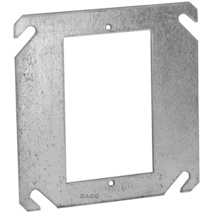 """Hubbell-Raco 787 4"""" Square Cover, 1-Device, Mud Ring, Flat, Drawn, Metallic"""