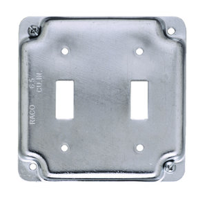 """Hubbell-Raco 803C 4"""" Square Exposed Work Cover, (2) Toggle Switch"""