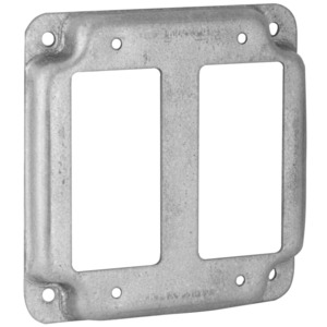 """Hubbell-Raco 809C 4"""" Square Exposed Work Cover, (2) Decora/GFCI"""