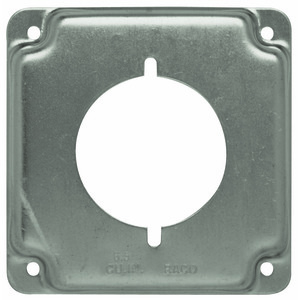 """Hubbell-Raco 810C 4"""" Square Exposed Work Cover, (1) Single Receptacle Power Outlet"""