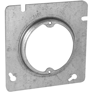 "Hubbell-Raco 829 4-11/16"" Square Fixture Cover, Mud Ring, 1/2"" Raised, Drawn"