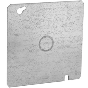 "Hubbell-Raco 833 4-11/16"" Square Cover, Flat, 1/2"" Knockout in Center"