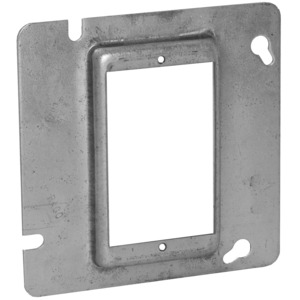 "Hubbell-Raco 837 4-11/16"" Square Cover, 1-Device, Mud Ring, 1/2"" Raised, Drawn"