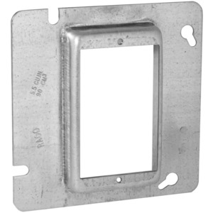 "Hubbell-Raco 838 4-11/16"" Square Cover, 1-Device, Mud Ring, 3/4"" Raised, Drawn"