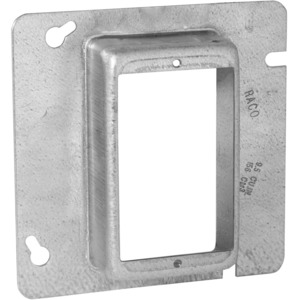 "Hubbell-Raco 842 4-11/16"" Square Cover, 1-Device, Mud Ring, 1-1/4"" Raised, Drawn"