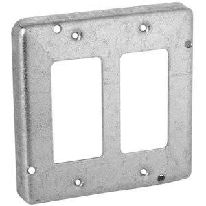 """Hubbell-Raco 857 4-11/16"""" Square Exposed Work Cover, (2) GFCI/Decora Receptacle"""