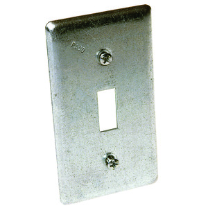 Hubbell-Raco 865 Handy Box Cover, Type: (1) Toggle Switch, Drawn, Metallic