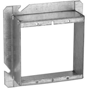"Hubbell-Raco 885 4-11/16"" Square Cover, 2-Device, Mud Ring, 1-1/2"" Raised, Drawn"