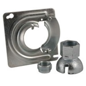 "Hubbell-Raco 897KH Square Fixture Cover, Size: 4"", Type: Swivel, Fits 1/2"" or 3/4"" Pipe"